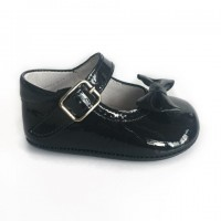 1529 Navy Patent Mary Jane Pram Shoe  with Bow